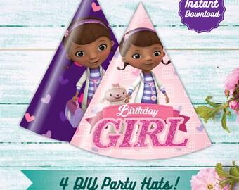Doc McStuffins Party Hats, Printable Disney Doc Mcstuffins Party Decoration Instant Download, DIY