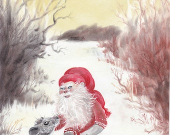 Original art: Gnome and mouse. Christmas, folklore, scandinavian, nisse, tomte, mouse, mus, jul, xmas, holiday, winter, holidays, landscape