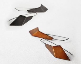 Geometric Hook Earrings, Geometric Silver Earrings, Triangle Drop Earrings, Statement Earrings, Minimalist Earrings, Sculptural Earrings
