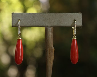 Italian Teardrop Coral Earrings