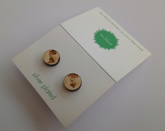 Earth Studs, Laser Cut Wooden Earrings