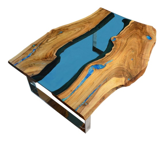 Live Edge Coffee Table Diy: Live Edge River Coffee Table With Glowing Resin Fillin And