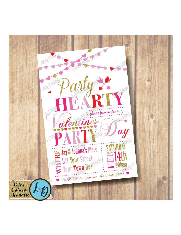 Valentine\'s Day Party Invitation Party Hearty Invitation