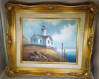 Vintage-Painting-Oil-M. Martin-Lighthouse-Signed-Framed-Home Decor-Wall Decor-Wall Hanging