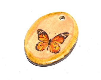 Ceramic Butterfly Pendant Handmade Focal Floral Rustic Pretty Feminine