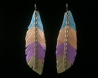 Recycled Leather Feather Earrings
