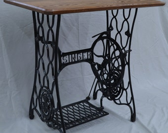 Vintage Singer Sewing Machine Treadle Table with Oak Hardwood Top -- Custom Options Available