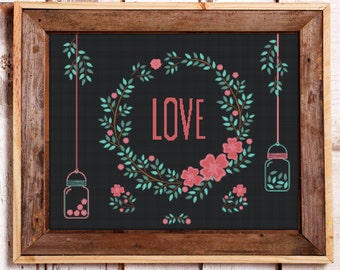 Love Sampler Modern Counted Cross Stitch Pattern // Instant PDF Download