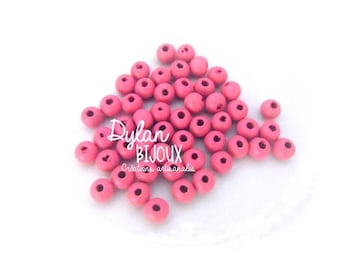 25 Pink 8 mm wood beads