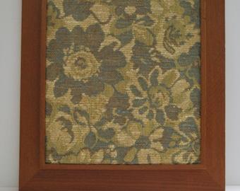 Cork board,Mid century modren display frame, teak with vintage fabric