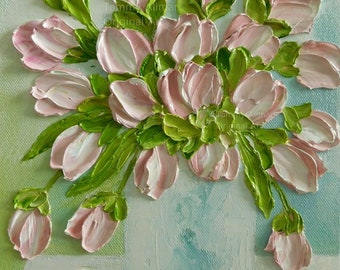 Fresh Pink Blush Tulips Impasto Oil Painting, Tulip Painting, Impasto, Wedding,Birthday, For Her, Decor