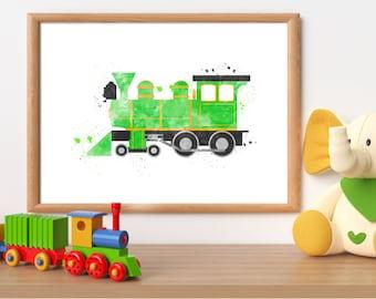 Watercolor train print, train printable, train wall art, steam locomotive print, locomotive printable, boy room wall art, train download