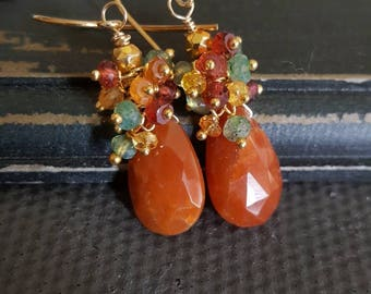 Spring Sale 15% Copper Quartz with Colorful Gemstone Cluster Earrings Gift for Her