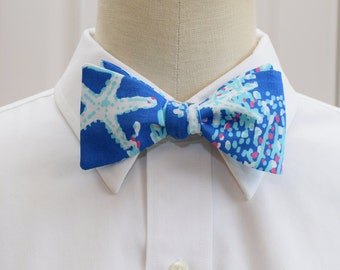 Men's Bow Tie, cobalt blue Good Reef Lilly print, wedding bow tie, blue beach bow tie, groom bow tie, Carolina Cup, Kentucky Derby, prom tie