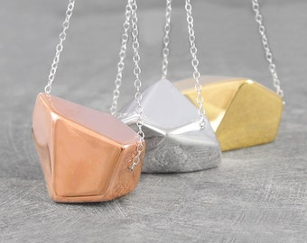Chunky Gold Necklace-Geometric Rose Gold Necklace-Minimalist Silver Necklace-Silver and Gold Necklace-Modern Necklace-Silver Nugget Pendant