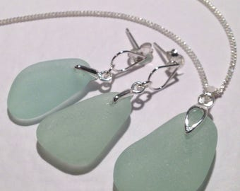 Aqua Sea Glass Sterling Silver Necklace and Earring Set