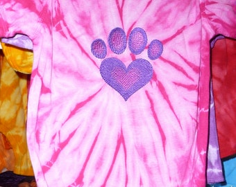 24 Months  hot pink embroidered onesie. Tie Dyed with an embroidered heart paw in purple