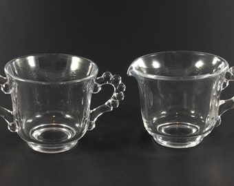 Vintage Imperial Candlewick Beaded Glass Handles Creamer And Open Sugar Bowl