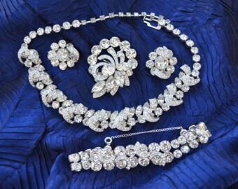 Eisenberg Grand Parure, Necklace, Bracelet, Brooch & Clip Earrings Vintage