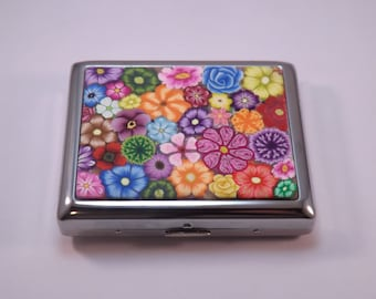 Handcrafted Polymer Clay Embellished Colorful Millefiori Metal Wallet, Cigarette Case