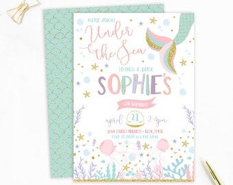 Mermaid Invitation, Mermaid Birthday Invitation, Under the Sea Invitation, Ocean Invitation, Mermaid Party, Birthday Invite, Gold Glitter