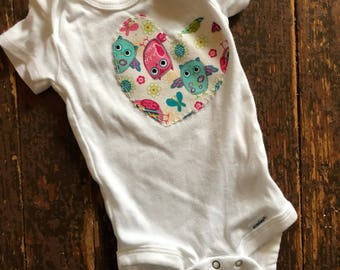 3-6 month owl heart onesie