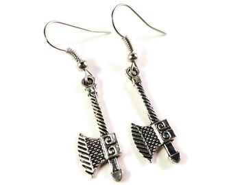Axe Charm Earrings, Silver Ax Earrings, Axe Earrings, Antique Silver Metal Earrings, Weapon Jewelry, Weapon Earrings, Medieval Jewelry