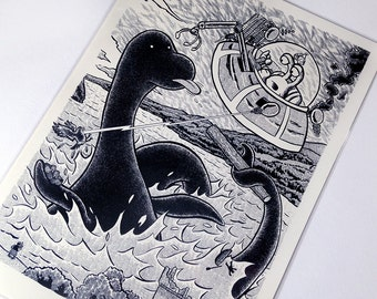 Blop vs. Nessie -Giclée Print by Alex Hahn (A4 or A3; Limited edition of 30 each; signed and numbered)