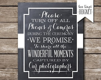 Please Turn Off All Phones & Cameras - Wedding Printable - PRINTABLE - Custom Color - Wedding Decor