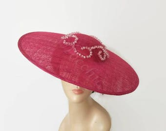 Crystal wedding hat pink, Pink tea party hats, Kentucky derby hat pink, womens dress hats, rose Royal Ascot hat, Original races hat pink,