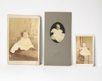 Cabinet cards lot of 3 Victorian photos Antique Photos Collectible ephemera Baby PHotos New England