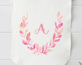 Pink Nursery Wall Decor,  Monogram Baby Gift, Blush Pink, Baby Girl Gift, Linen Banner, Watercolor Wall Hanging, Personalized Nursery Decor