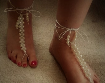 SALE: Barefoot Sandals. Handmade/Unique Macrame and Pearls with Wrap Around and Tie Fastening.