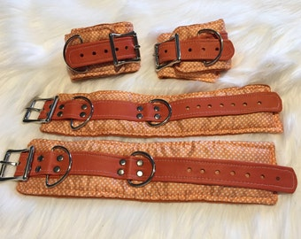 Silk Wrist and Ankle Restraint Set:  Orange Polka-dot, Pin-up print
