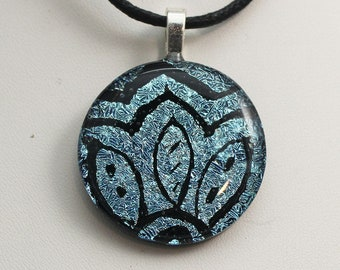 Hand Etched Round Dichroic Fused Glass Pendant