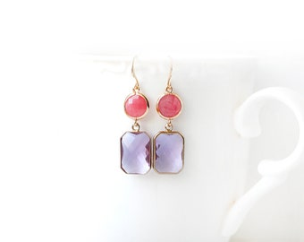 Polished Gold Plated Lilac and Pink Glass Double Stone Earrings