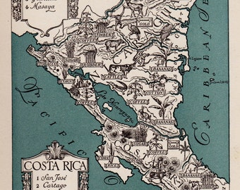 1940s Vintage COSTA RICA Picture Map of Costa Rica Pictorial Map Print Travel Map Gallery Wall Art Gift for Boyfriend Birthday Gift