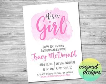 It's A Girl Baby Shower Invitation / Girl Baby Shower /  Watercolor / Pink Purple / Baby Shower Invitation / Baby Girl / Digital File