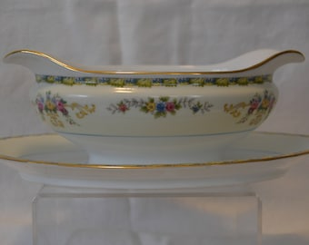 Noritake M China Gravy Boat with Attached Underplate, Multi-Color Floral - Vintage #4141  ON SALE NOW!!