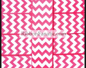 "5 yds 7/8"" Shocking Pink  and White Chevron  Grosgrain Ribbon"