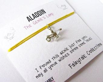 Aladdin Friendship bracelet, Magic lamp bracelet, genie lamp, fairytale bracelet, BFF gift, wish bracelet, make a wish jewellery