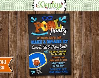 Basketball Pool Party Birthday Invitation, Basketball Swimming Invitation, Pool Party, Sports Pool Invite (PO06)