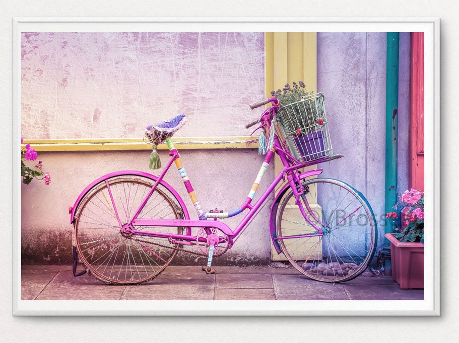 photographie bicyclette rose fleur pink bicycle decorated. Black Bedroom Furniture Sets. Home Design Ideas