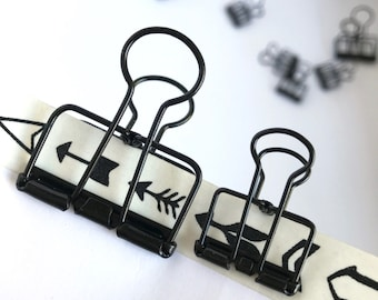 Black Planner Clips Binder Accessories Bull Dog Skeleton Paper Clips
