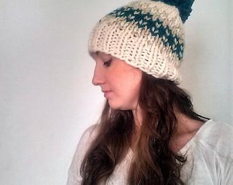 Chunky Knit Pom Pom Hat, Knitted Pom Pom Hat, Knit Chunky Hat, Fair Isle Knit Hat - Fisherman