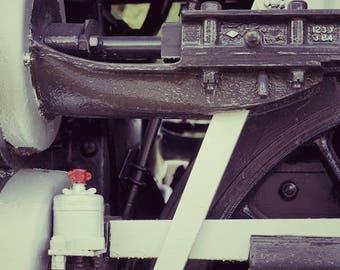 Industrial Train Decor, Black and White Photo, Old Train Photo