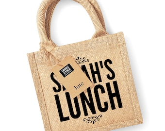 Personalized Lunch Jute Bag, Your Name, Lunch Bag, Lunch Box, Lunch Tote, Custom Bag, Womens Bag, Personalised Gift ST8