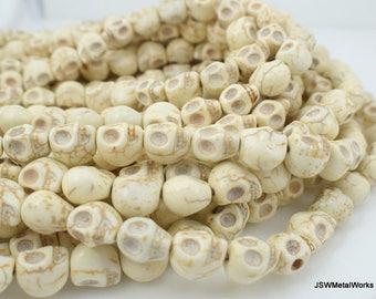 White Skull Beads, Dia De Los Muertos, Skull Beads, 12 x 12 x 10 mm, 16 Inch Strand, Whole Strand, Day of the Dead, Halloween Skull