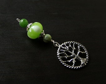 Green Jade and Nephrite Spring Seedling Tree of Life Blessingway bead - Blessing bead, baby shower gift, pregnancy gift, pendant, doula gift