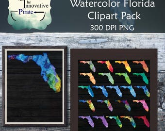 Rainbow Watercolor Florida silhouette clipart pack, clip art, florida art, patriotic clip art, water color florida, birthday, school clipart
